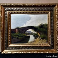 Arte: OLEO SOBRE TABLA DE UN PUENTE CON PERSONAJE FIRMADO M FERMOSO SIGLO XIX. Lote 175741237
