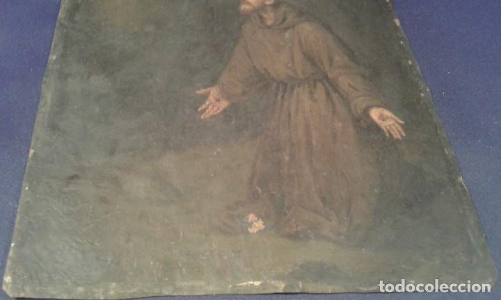 Arte: San Francisco. Óleo sobre cobre. Siglo XVII - XVIII. - Foto 4 - 175785964