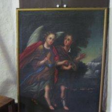 Arte: ÁNGEL SAN RAFAEL Y TOBIAS: S.XVIII * GRAN PINTURA AL OLEO 115CM * ESCUELA ITALIANA PALACIO IGLESIA. Lote 175829878