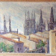 Arte: BURGOS ,CATEDRAL DE BURGOS Y TEJADOS,ÓLEO ORIGINAL FIRMADO . Lote 175844852