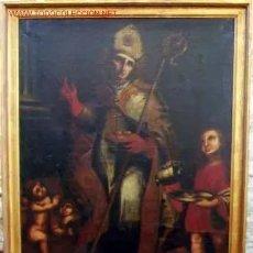 Arte: ANTIGUO LIENZO TOLEDANO - [1858] S.19: S. NICOLAS DE BARI. FIRMADO CON CERTIFICADO [SIN EL MARCO]. Lote 38053862