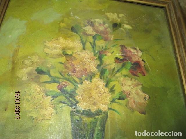 ANTIGUO CUADRO OLEO EN LIENZO PINTURA FLORES FIRMADO (Arte - Pintura - Pintura al Óleo Antigua sin fecha definida)