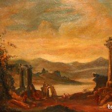 Arte: ESCUELA ITALIANA DE AUTOR ANONIMO. OLEO SOBRE TELA DE APROXIMADAMENTE 1900. PAISAJE CON RUINAS. Lote 175885287