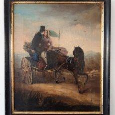 Arte: PINTURA CON ESCENA ROMÁNTICA. ÓLEO SOBRE LIENZO DEL SIGLO XIX. Lote 175918159