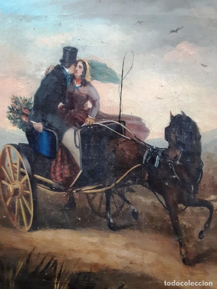 Arte: Pintura con escena romántica. Óleo sobre lienzo del siglo XIX - Foto 2 - 175918159