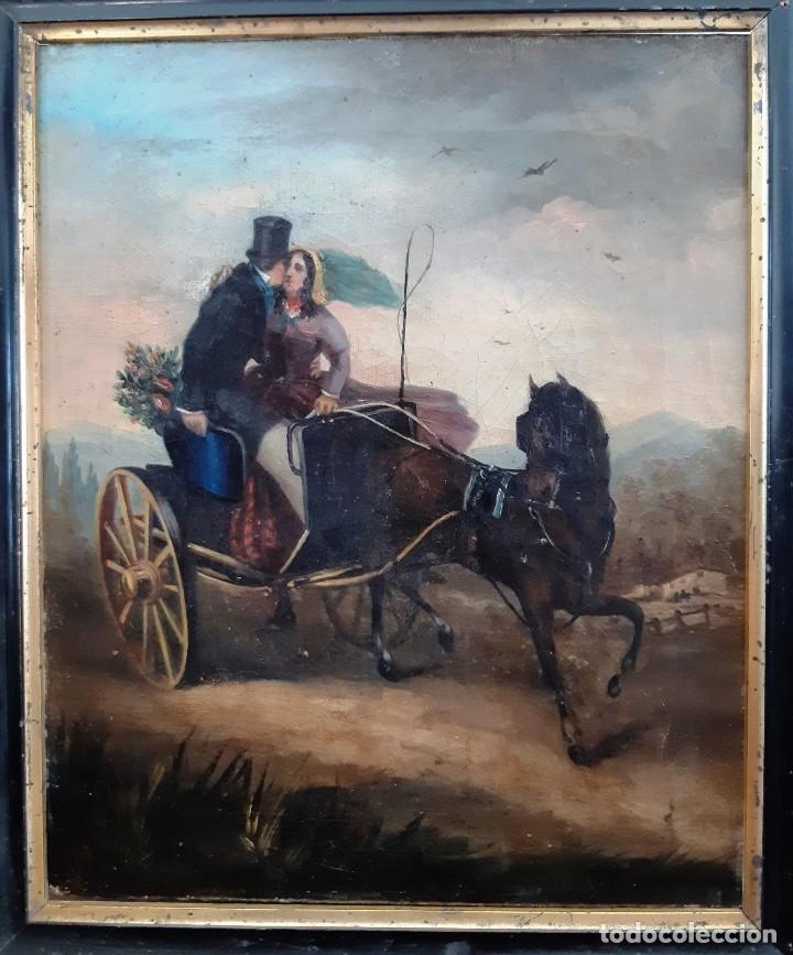 Arte: Pintura con escena romántica. Óleo sobre lienzo del siglo XIX - Foto 3 - 175918159