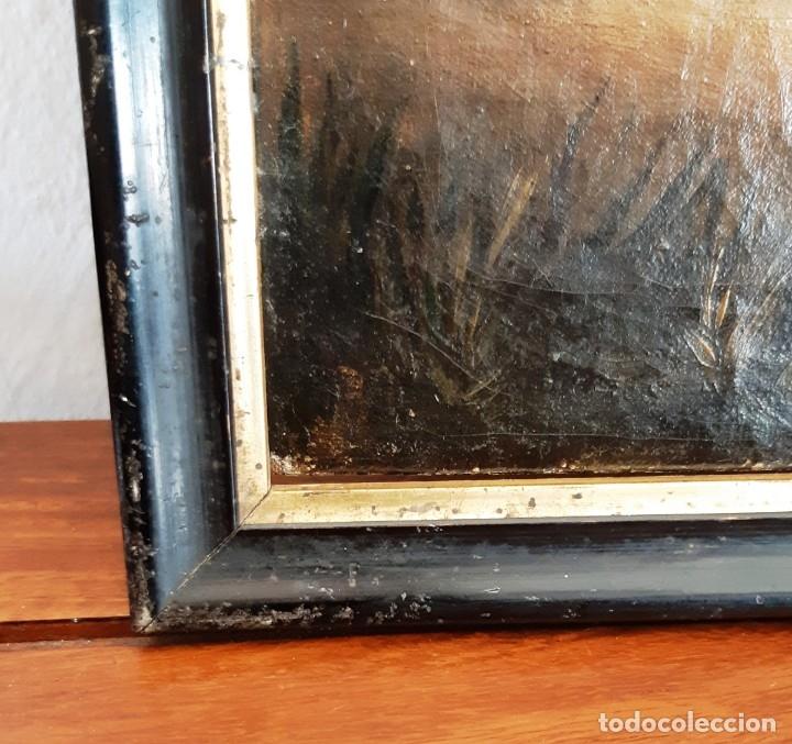 Arte: Pintura con escena romántica. Óleo sobre lienzo del siglo XIX - Foto 6 - 175918159