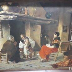 Arte: JOSÉ PONCE, ESCENA FAMILIAR.. Lote 175974819