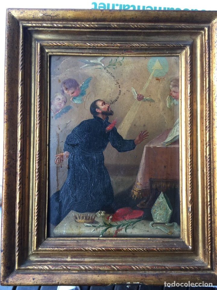 OLEO SOBRE COBRE S FRANCISCO JAVIER SIGLO XVIII PINTURA XIX MARCO (Arte - Pintura - Pintura al Óleo Antigua siglo XVIII)