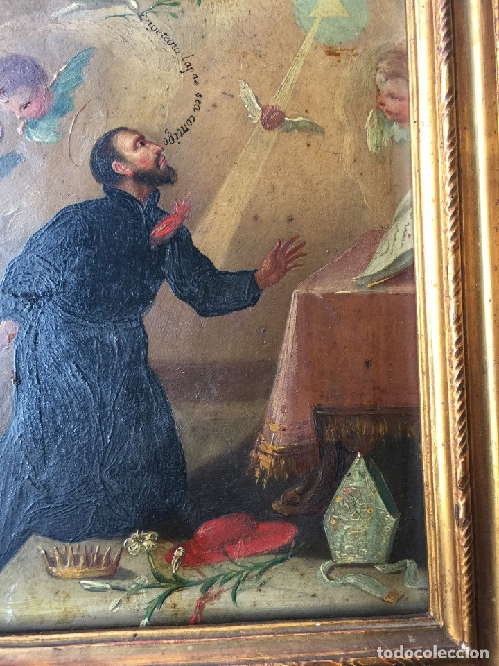 Arte: OLEO SOBRE COBRE S FRANCISCO JAVIER SIGLO XVIII PINTURA XIX MARCO - Foto 3 - 176119314