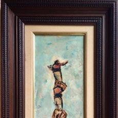 Arte: CUADRO OLEO ANTONI VIVES FIERRO 1966 CASTELLERS PILAR COLLA XIQUETS DE VALLS O DE TARRAGONA ?. Lote 176176970