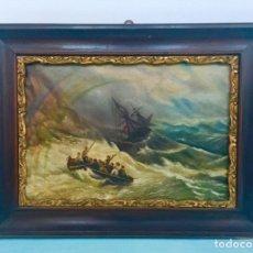 Arte: BONITO OLEO SOBRE MADERA REPRESENTANDO UN NAUFRAGIO CON ARCOIRIS , SINGULAR . FIRMADO M. ESCOBAR . Lote 176194882