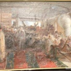 Arte: MISA EN ALTA MAR, POR JULIO BORRELL (BARCELONA 1877-1957). Lote 176228459