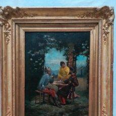 Arte: SEÑORA HABLANDO CON MILITARES , PINTADO POR F.TEJADA DE VILARGAIN. Lote 176248550