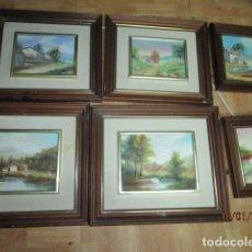 Arte: ENVIO GRATUITO OFERTA ! LOTE 6 CUADROS PINTURA OLEO EN LIENZO CON MARCOS MADERA BIEN CONSERVADOS. Lote 157782794