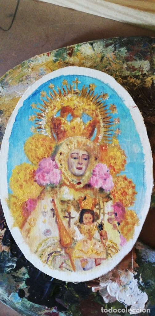 PINTURAS EN OVALOS DE MADERA Y PAN DE ORO. EL ROCIO. 21X16 Y 15X12,3. (Arte - Pintura - Pintura al Óleo Contemporánea )