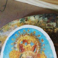 Arte: PINTURAS EN OVALOS DE MADERA Y PAN DE ORO. EL ROCIO. 21X16 Y 15X12,3.. Lote 158980642