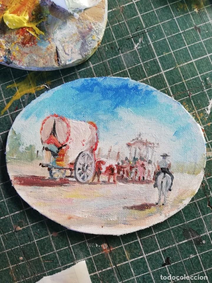 Arte: PINTURAS EN OVALOS DE MADERA Y PAN DE ORO. EL ROCIO. 21X16 Y 15X12,3. - Foto 3 - 158980642