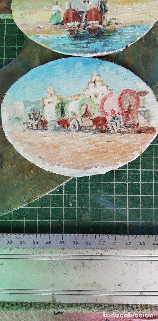 Arte: PINTURAS EN OVALOS DE MADERA Y PAN DE ORO. EL ROCIO. 21X16 Y 15X12,3. - Foto 4 - 158980642