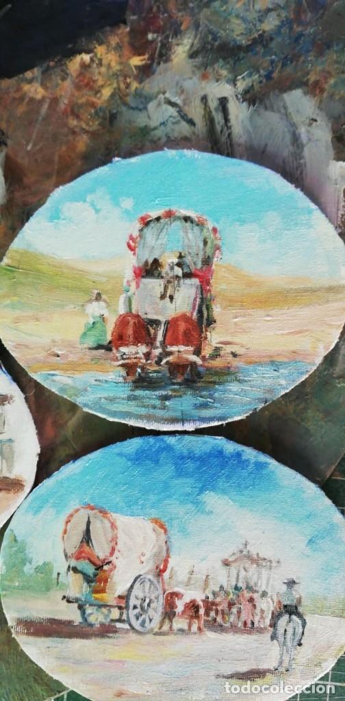 Arte: PINTURAS EN OVALOS DE MADERA Y PAN DE ORO. EL ROCIO. 21X16 Y 15X12,3. - Foto 5 - 158980642