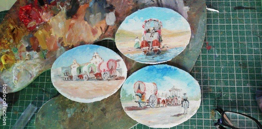 Arte: PINTURAS EN OVALOS DE MADERA Y PAN DE ORO. EL ROCIO. 21X16 Y 15X12,3. - Foto 2 - 158980642