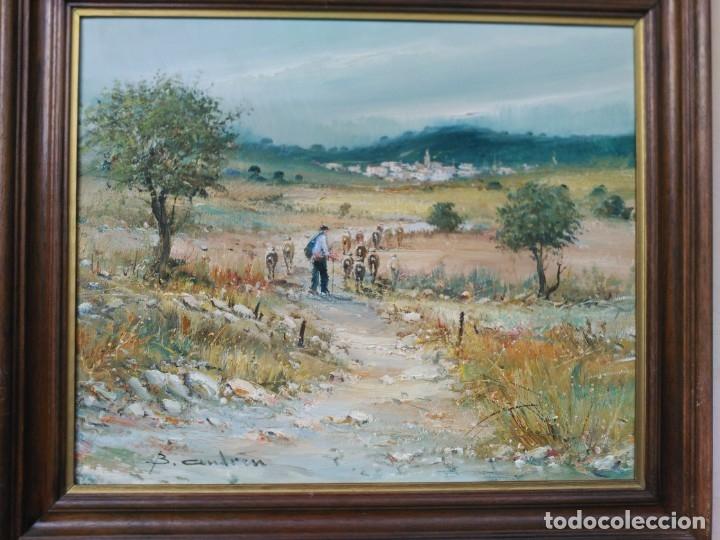 Arte: OLEO SOBRE LIENZO, BENIGNO ANDREU, PAISAJE CON PERSONAJES - Foto 2 - 176372375
