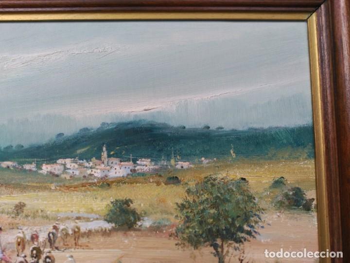 Arte: OLEO SOBRE LIENZO, BENIGNO ANDREU, PAISAJE CON PERSONAJES - Foto 7 - 176372375