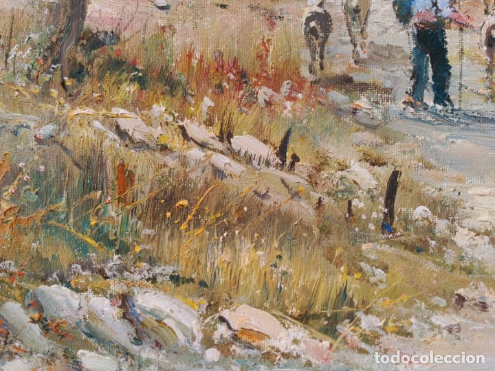 Arte: OLEO SOBRE LIENZO, BENIGNO ANDREU, PAISAJE CON PERSONAJES - Foto 15 - 176372375