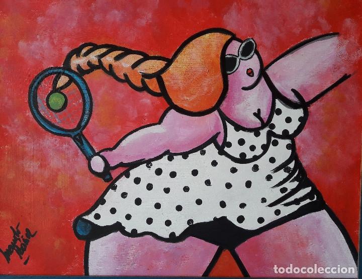 TENIS. ACRÍLICO SOBRE TABLA 50 X 40 CM. ENMARCADO. MANOLO IBÁÑEZ (Arte - Pintura Directa del Autor)