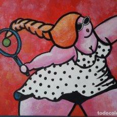 Arte: TENIS. ACRÍLICO SOBRE TABLA 50 X 40 CM. ENMARCADO. MANOLO IBÁÑEZ. Lote 176405042