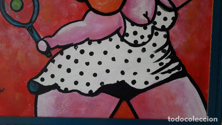 Arte: TENIS. ACRÍLICO SOBRE TABLA 50 X 40 CM. ENMARCADO. MANOLO IBÁÑEZ - Foto 4 - 176405042