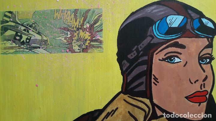 Arte: AVIADORA. ACRÍLICO SOBRE LIENZO 46 X 38 CM. MANOLO IBÁÑEZ - Foto 3 - 176405177