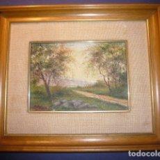 Arte: OLEO SOBRE TABLA: - PAISAJE -. FIRMADO CASTILLO. ENMARCADO (30X25 CM). Lote 176412667