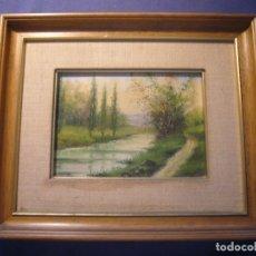 Arte: OLEO SOBRE TABLA: - PAISAJE -. FIRMADO CASTILLO. ENMARCADO (30X25 CM). Lote 176413092