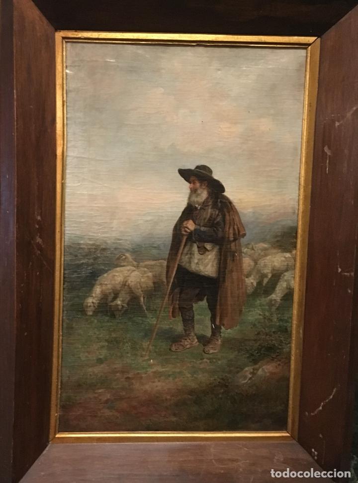 PASTOR CON REBAÑO, POR JOSÉ ROBLES Y MARTÍNEZ (MADRID 1843-1911) (Arte - Pintura - Pintura al Óleo Moderna siglo XIX)