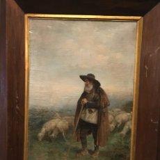 Arte: PASTOR CON REBAÑO, POR JOSÉ ROBLES Y MARTÍNEZ (MADRID 1843-1911). Lote 176414774