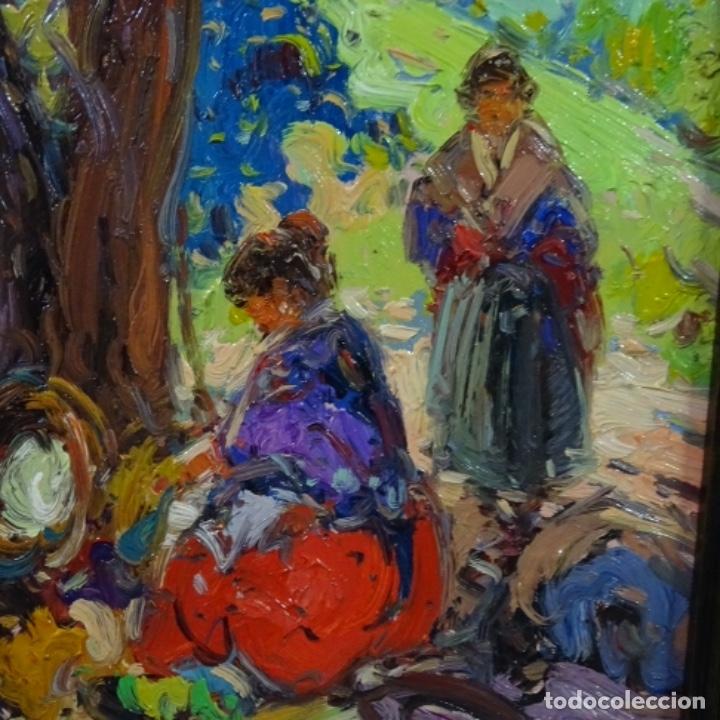 Arte: Oleo sobre tabla escuela valenciana.firma ilegible.buen trazo.maestro.bien enmarcado. - Foto 3 - 176452693