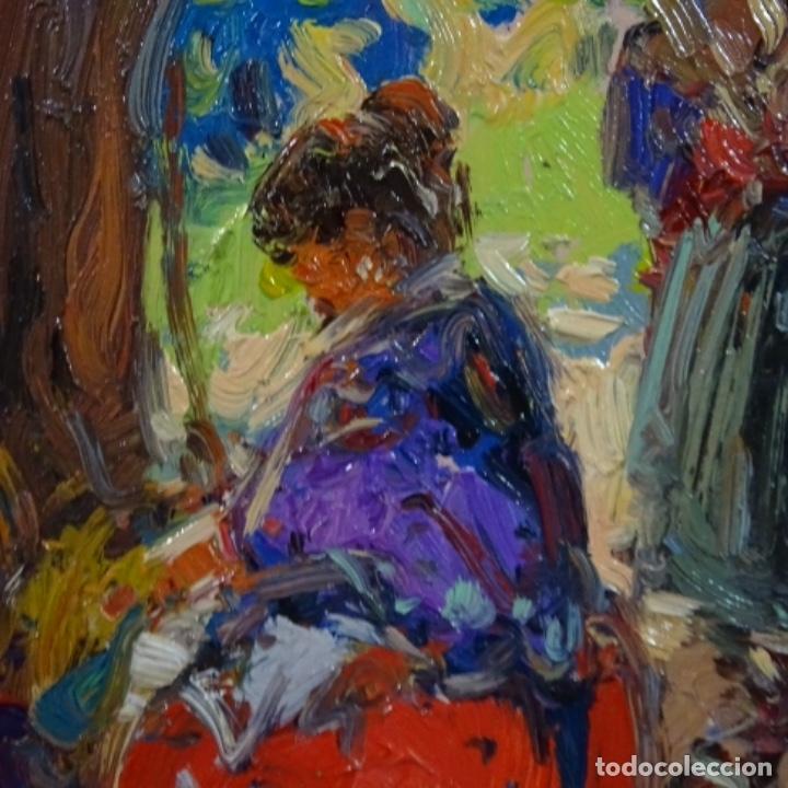 Arte: Oleo sobre tabla escuela valenciana.firma ilegible.buen trazo.maestro.bien enmarcado. - Foto 9 - 176452693
