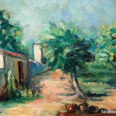 Arte: JOAN SERRA MELGOSA (LLEIDA,1899 - BARCELONA,1970) OLEO SOBRE TABLA. PAISAJE RURAL. Lote 42863299