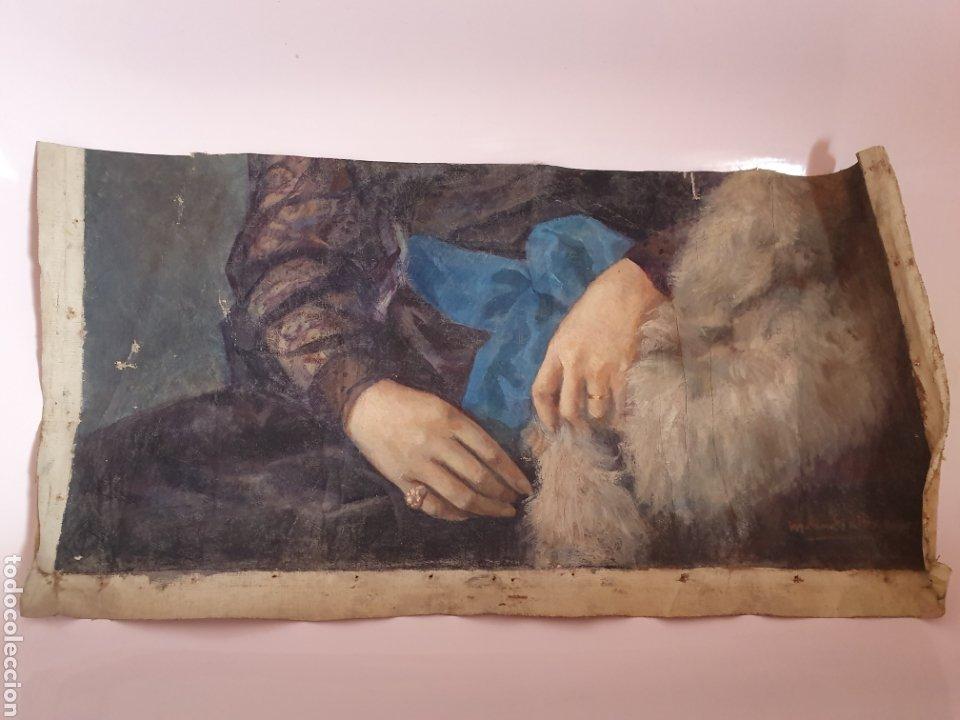 Arte: FRAGMENTO DE LIENZO PINTADO AL OLEO DE UNAS BELLAS MANOS DE MUJER SE ENCUENTRA FIRMADO - Foto 4 - 176483169