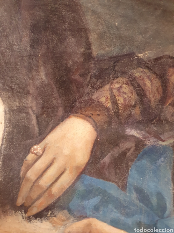 Arte: FRAGMENTO DE LIENZO PINTADO AL OLEO DE UNAS BELLAS MANOS DE MUJER SE ENCUENTRA FIRMADO - Foto 5 - 176483169