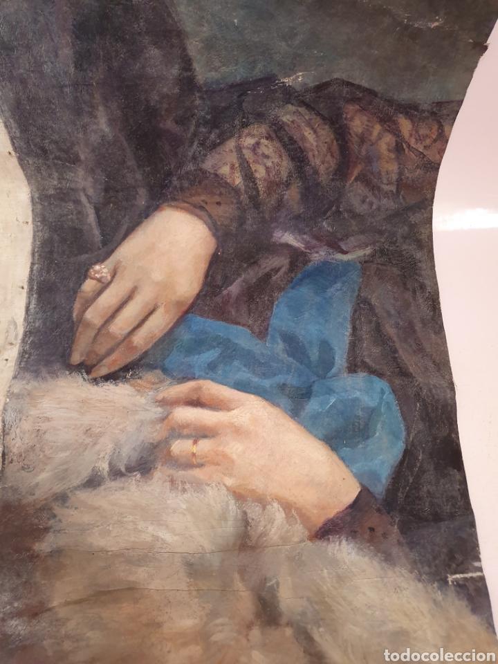 Arte: FRAGMENTO DE LIENZO PINTADO AL OLEO DE UNAS BELLAS MANOS DE MUJER SE ENCUENTRA FIRMADO - Foto 6 - 176483169