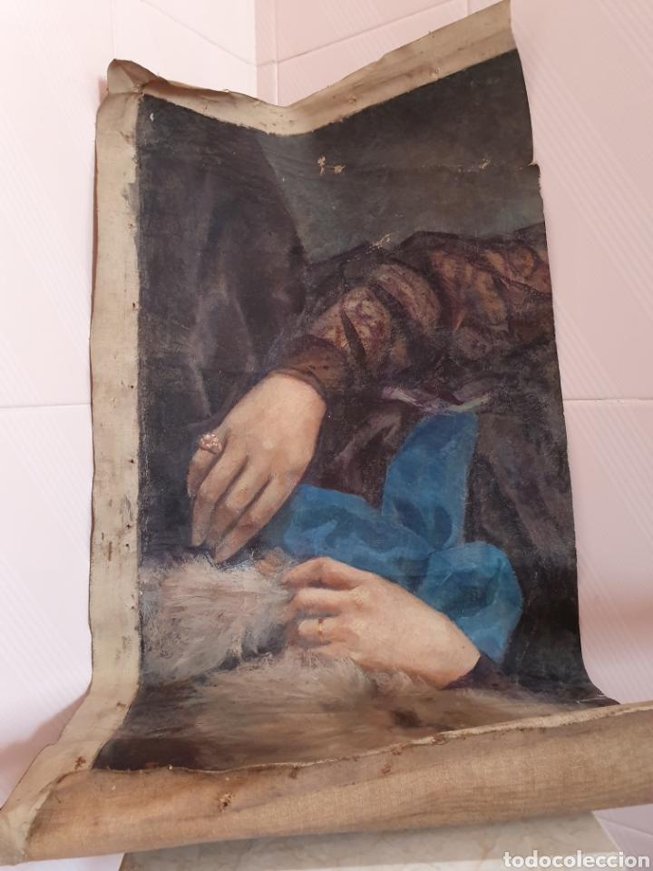 FRAGMENTO DE LIENZO PINTADO AL OLEO DE UNAS BELLAS MANOS DE MUJER SE ENCUENTRA FIRMADO (Arte - Pintura - Pintura al Óleo Antigua sin fecha definida)