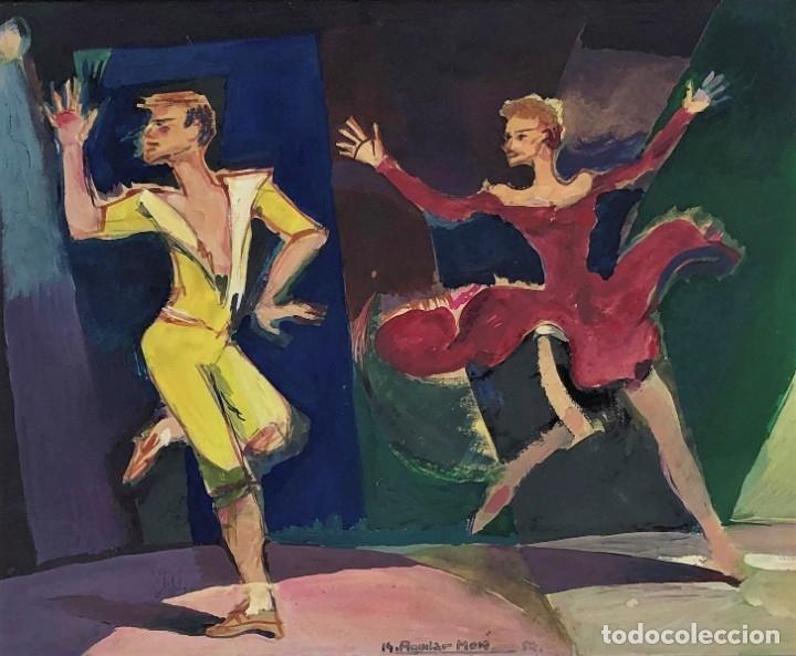 RAMON AGUILAR MORÉ (BARCELONA, 1924 - 2015) - ESCENA DE BAILE - ACRÍLICO (Arte - Pintura - Pintura al Óleo Contemporánea )