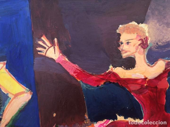 Arte: Ramon Aguilar Moré (Barcelona, 1924 - 2015) - Escena de baile - Acrílico - Foto 5 - 176548520