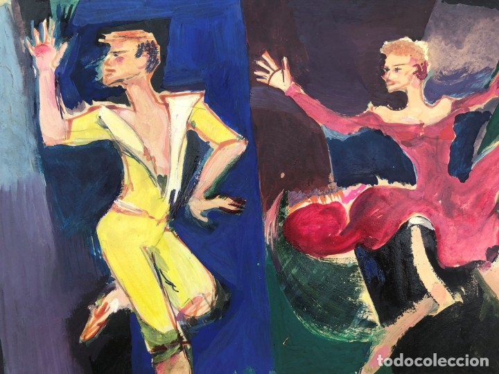 Arte: Ramon Aguilar Moré (Barcelona, 1924 - 2015) - Escena de baile - Acrílico - Foto 9 - 176548520