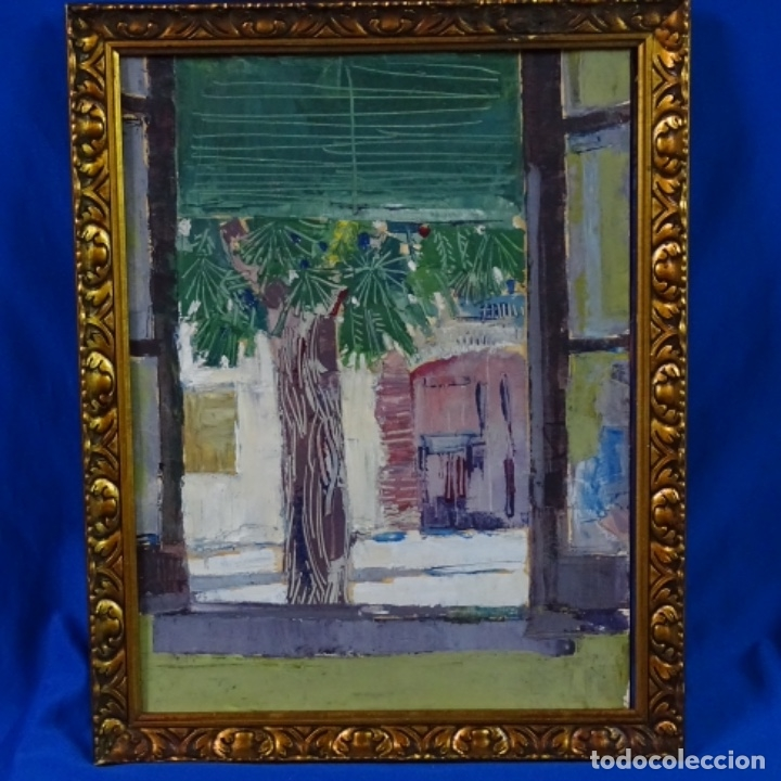 OLEO SOBRE PAPEL DE JOAN CAPELLA ARENAS.VISTA A TRAVÉS DE LA VENTANA.GRAN CALIDAD. (Arte - Pintura - Pintura al Óleo Contemporánea )