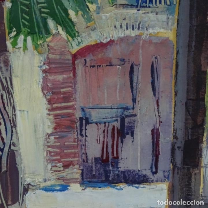 Arte: Oleo sobre papel de Joan capella arenas.vista a través de la ventana.gran calidad. - Foto 4 - 176606520