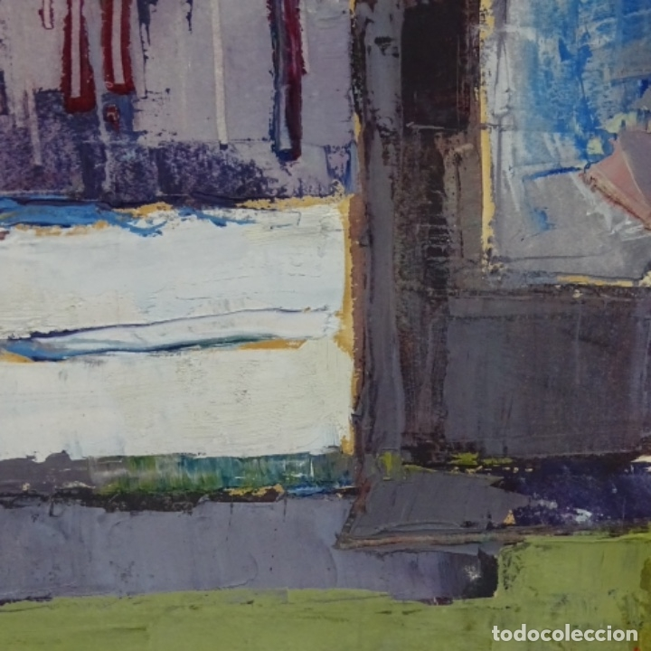 Arte: Oleo sobre papel de Joan capella arenas.vista a través de la ventana.gran calidad. - Foto 5 - 176606520