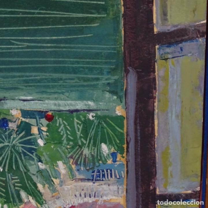 Arte: Oleo sobre papel de Joan capella arenas.vista a través de la ventana.gran calidad. - Foto 6 - 176606520